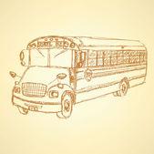 Schizzo carino scuola bus — Vettoriale Stock