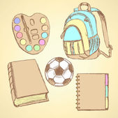 Sketch backpack, watercolors, football ball, book and notebook — Stock Vector