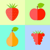 Flat raspberry, apple, pear and strawberry — Stock Vector