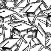 Sketch graduation hat, pwn and pencil — Stock Vector
