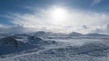 Iceland white snow landscape — Stock Video