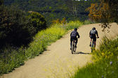 Couple riders with the bikes moving up so hard on the mountain trail — Foto Stock