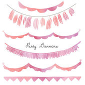 Bunting Flags and Party Garlands With Watercolor Texture — Stock Photo