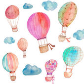Watercolor Hot Air Balloons on Isolated White Background — Stock Photo