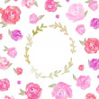 Watercolor Peonies Frame Background — Stock Photo #48217941