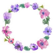 Watercolor Anemones Wreath. Floral Wreath. Watercolor Wreath — Stock Photo