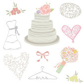 Collection of Hand Drawn Wedding Cake and Wedding Elements — Stock Photo