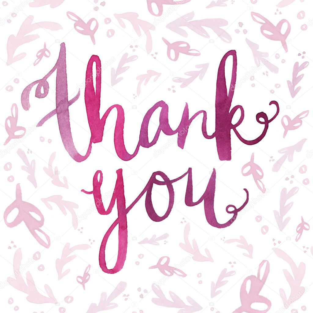 Stock Photo Watercolor Lettering Thank You Lettering on File Cursive