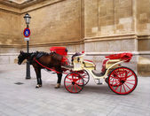 Red Cart with horse in Spain, Mallorca — Stock Photo