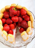 Yogurt strawberry cake  — Stock Photo