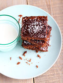 Chewy chocolate and coconut slice — Stock Photo