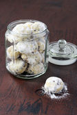 Chocolate snowballs: biscuits with chocolate chips coated with i — Stock Photo