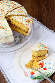 Layer cake with white frosting decorated with hundreds and thousands — Stock Photo
