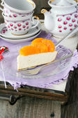 Quark cheese cake with tangerine decoration — Stock Photo