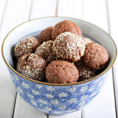 Chocolate, coconut bliss bombs  — Stock fotografie