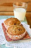 Flax lemon poppy seed muffins  — Stock Photo