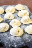 Raw, uncooked freshly made pelmeni  — Stock Photo