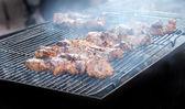 Vlees op stick grillen met rook — Stockfoto
