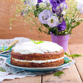 Sandwich cake with cream cheese  — Stock Photo
