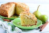 Pear crumble cake — Stock Photo