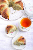 Poppy seed orange ring cake, sliced — Stock Photo