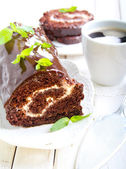 Chocolate roll with cream filling  — Stock Photo