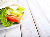 Tortilla wrap with chicken and vegetables — Stock Photo