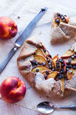 Cut biscuits with peach and blueberry — Стоковое фото