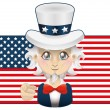 Uncle Sam with USA flag — Stock Vector #48726185