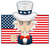 Uncle Sam with USA flag — Stock Vector