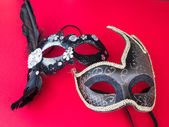Carnival mask on red background — Foto Stock