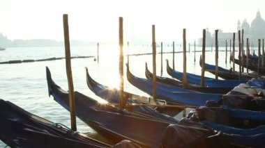 Sunbeam  on Venice gondolas in dock — Video Stock