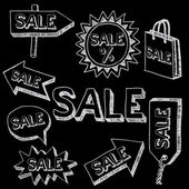 Sale hand drawn signs, doodle style. — Vecteur