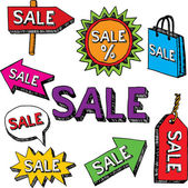Sale hand drawn signs, doodle style. — Stockvektor