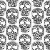 Seamless background with lace skulls. — Stock Vector