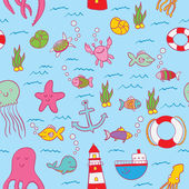 Seamless pattern, fishes and underwater motive — Cтоковый вектор