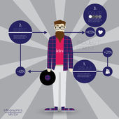 Template for infographic with Hipster Character Design - Vector Illustration — Stock Vector