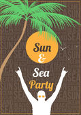Minimale Sommer Strand Party Flyer Vorlage - Vektor-illustration — Stockvektor