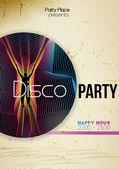 Retro Disco Party Flyer Template - Vector Illustration — Stock Vector