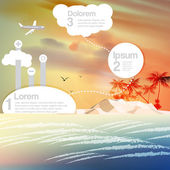 Vintage Seaside View Infographics with Tropical Island and Palm Trees  - Vector Illustration — Stock Vector