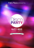 Disco Party Flyer Background Template - Vector Illustration — Stock Vector