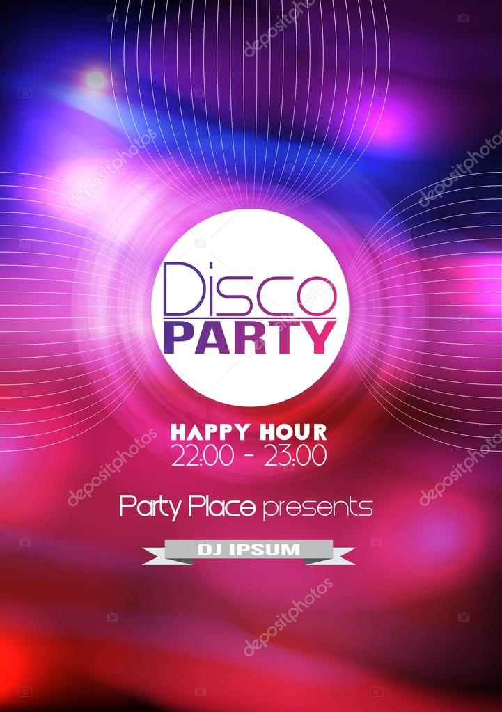 Disco Party Flyer Background Template - Vector Illustration ...