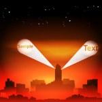 Night Cityscape with Spotlights - Vector Illustration — Stock Vector