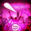 Night Cityscape with Crowd Party Poster Background Template - Vector Illustration — Stock Vector