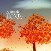 Autumn trees in Fall season Abstract Background - Vector Illustration — Cтоковый вектор