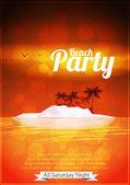 Summer Beach Party Poster - Vector Illustration — Stock Vector