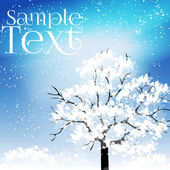 Beautiful Winter Tree with Snow Covered Leaves - Vector Illustration — Stock Vector
