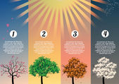 Four Seasons Banners with Abstract Trees Infographic - Vector Illustration — 图库矢量图片