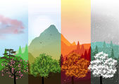Four Seasons Banners with Abstract Forest and Mountains - Vector Illustration — Stock Vector