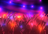 Party Crowd with Disco Spot Lights Background Template - Vector Illustration — Stock Vector